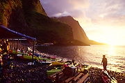 Kayaks, Hakaaano, North Shore, Molokai, Hawaii, USA<br />