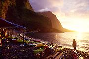 Kayaks, Hakaaano, North Shore, Molokai, Hawaii, USA<br />