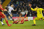 Bury Forward, Dom Telford (18) scores to make it 3-2  goal celebration during the EFL Sky Bet League 2 match between Bury and Milton Keynes Dons at the JD Stadium, Bury, England on 12 January 2019.