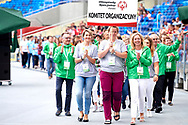 Chorzow, Poland - 2018 June 12: Organising Committee walk while Closing Ceremony of National Special Olympics Games 2018 at Slaski Stadium on June 12, 2018 in Chorzow, Poland.<br /> <br /> Adam Nurkiewicz declares that he has no rights to the image of people at the photographs of his authorship.<br /> <br /> Picture also available in RAW (NEF) or TIFF format on special request.<br /> <br /> Any editorial, commercial or promotional use requires written permission from the author of image.<br /> <br /> Image can be used in the press when the method of use and the signature does not hurt people on the picture.<br /> <br /> Mandatory credit:<br /> Photo by © Adam Nurkiewicz / Mediasport