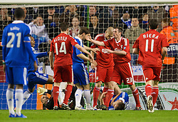 LIVERPOOL, ENGLAND - Wednesday, April 8, 2009: Liverpool and Chelsea players clash after Chelsea's captain John Terry assaulted Liverpool goalkeeper Pepe Reina during the UEFA Champions League Quarter-Final 1st Leg match at Anfield. (Photo by David Rawcliffe/Propaganda)