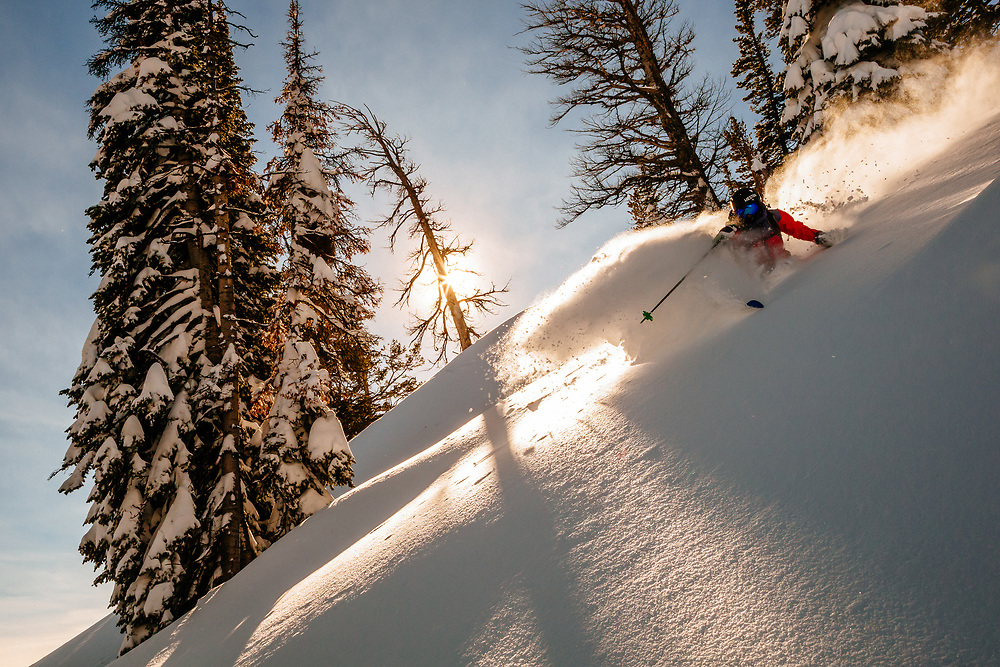 Allie Rood skis blower in-bounds powder at Jackson Hole Mountain Resort.