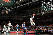January 15, 2018: Chris Lykes #2 of Miami shoots past Grayson Allen #3 of Duke during the NCAA basketball game between the Miami Hurricanes and the Duke Blue Devils in Coral Gables, Florida. The Blue Devils defeated the 'Canes 83-75.