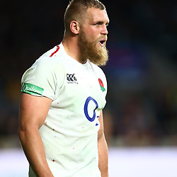 LONDON, ENGLAND - NOVEMBER 03: Brad Shields of England during the Castle Lager Outgoing Tour match between England and South Africa at Twickenham Stadium on November 03, 2018 in London, England. (Photo by Steve Haag/Gallo Images)