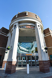 © Licensed to London News Pictures. 12/02/2020. WATFORD, UK.  A general view of the exterior of Intu Watford.  Shares in Intu, Britain's largest shopping centre owner with 20 shopping centres in the UK and Spain, including Intu Watford in north west London, have fallen after Link Real Estate Investment Trust abandoned plans to provide funds to reduce Intu's GBP4.7 billion debts. Analysts have reported that several covenants have been breached as a result of the decline in Intu's property portfolio valuation.  Photo credit: Stephen Chung/LNP