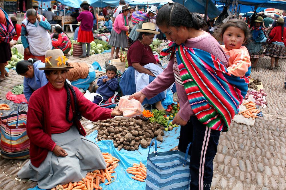 Americas, South America, Peru, Pisac. Grocery shopping in Peru.