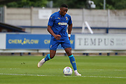 AFC Wimbledon defender Paul Kalambayi (30) dribbling during the Pre-Season Friendly match between AFC Wimbledon and Bristol City at the Cherry Red Records Stadium, Kingston, England on 9 July 2019.
