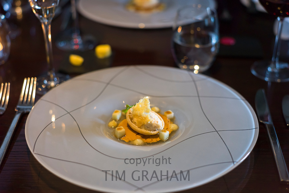 Tasting menu crab dish part of elegant dining experience at renowned gastronomic five star restaurant The Three Chimneys, Isle of Skye in Scotland