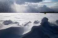 Drifting snow along Lake Mendota in Madison, Wisconsin. .