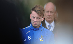 Ollie Clarke pays his respects at the memorial service  - Photo mandatory by-line: Dougie Allward/JMP - Mobile: 07966 386802 - 11/11/2014 - SPORT - Bristol - Memorial Stadium - Remembrance Service