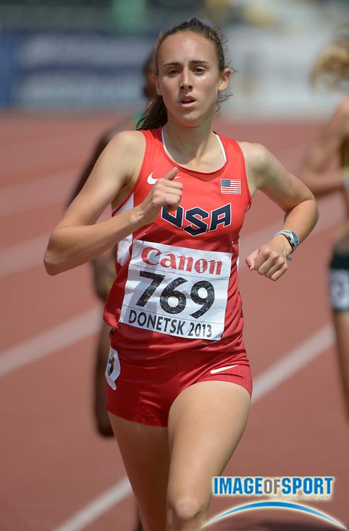 Jul 10, 2013; Donetsk, UKRAINE; Alexa Efraimson (USA) runs 4:23.27 in a womens 1,500m heat to advance in the 2013 IAAF World Youth Championships at Olimpiyskyi Stadium.