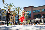 More than 50 Bay Area dance artists, including professional companies, local studios, and cultural groups, perform at Santana Row's Park Valencia, Santa Clara, Calif., to celebrate National Dance Week on April 22, 2012.  Photo by Stan Olszewski/SOSKIphoto