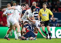 Nick Fenton-Wells of Bristol Rugby makes a tackle - Rogan Thomson/JMP - 11/12/2016 - RUGBY UNION - Ashton Gate Stadium - Bristol, England - Bristol Rugby v Pau - European Rugby Challenge Cup.