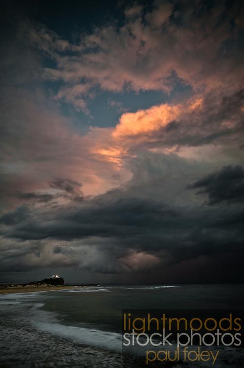 Storm over Nobbys Lighthouse, Newcastle,NSW, Australia.