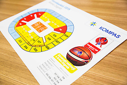Map of Arena Zagreb during press conference of Basketball Federation of Slovenia - KZS when signing a contract with Tourist agency Kompas for selling Eurobasket 2015 tickets, on March 2, 2015 in Ljubljana, Slovenia. Photo by Vid Ponikvar / Sportida