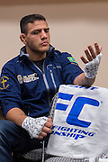 DALLAS, TX - MARCH 14:  Rafael Dos Anjos has his hands wrapped backstage before his fight against Anthony Pettis during UFC 185 at the American Airlines Center on March 14, 2015 in Dallas, Texas. (Photo by Cooper Neill/Zuffa LLC/Zuffa LLC via Getty Images) *** Local Caption *** Rafael Dos Anjos