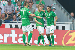 25.09.2011, Weser Stadion, Bremen, GER, 1.FBL, Werder Bremen vs Hertha BSC, im Bild.1:1 Ausgleich Jubel Claudio Pizarro (Bremen #24) Aaron Hunt (Bremen #14) Denni Avdic (Bremen #9).// during the Match GER, 1.FBL, Werder Bremen vs Hertha BSC on 2011/09/25,  Weser Stadion, Bremen, Germany..EXPA Pictures © 2011, PhotoCredit: EXPA/ nph/  Gumz       ****** out of GER / CRO  / BEL ******