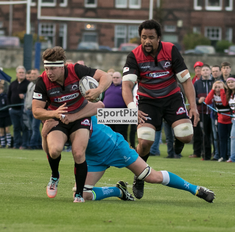 Edinburgh 28. Hamish WATSON  tries to escape the Ulster defense. Edinburgh Rugby v Ulster Rugby, 28th August 2015