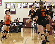 Solon's Rylee Smith (4), Jordan Smith (12), and Jordan Runge (16) are pumped up after a score during the WaMaC Tournament semifinal game at Mount Vernon High School in Mount Vernon on Thursday October 11, 2012. Solon defeated Mount Vernon 26-24, 25-22.