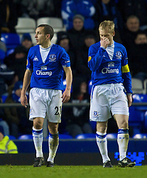 LIVERPOOL, ENGLAND - Thursday, December 17, 2009: Everton's Tony Hibbert and Leon Osman look dejected after conceding an FC BATE Borisov goal during the UEFA Europa League Group I match at Goodison Park. (Pic by David Rawcliffe/Propaganda)