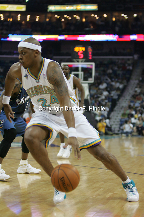 Hornets newly acquired guard, Bonzi Wells drives to the basket against the Washington Wizards on February 25, 2008 at the New Orleans Arena in New Orleans, Louisiana. The New Orleans Hornets lost 95-92 to the Washington Wizards.  .