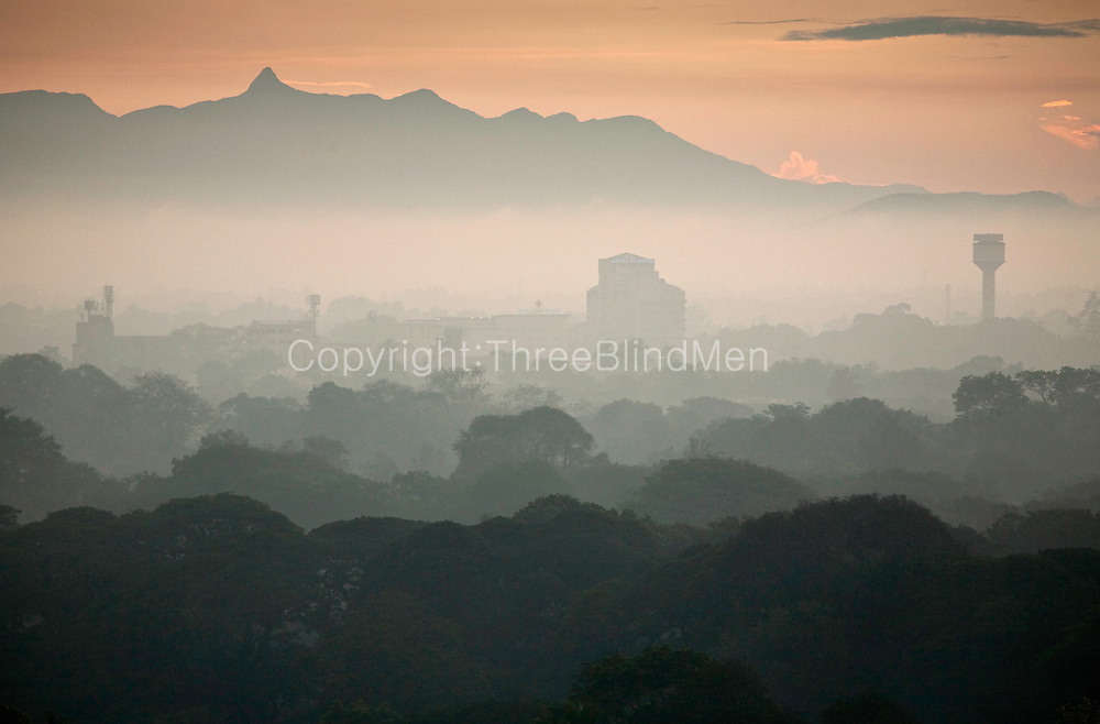Colombo at dawn. Early morning views from Colombo. Adams peak is visible in the distance. Sri Lanka