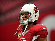 Sept. 30, 2012; Glendale, AZ, USA; Arizona Cardinals wide receiver Larry Fitzgerald (11) warms up prior to the game against the Miami Dolphins at University of Phoenix Stadium. Mandatory Credit: Jennifer Stewart-US PRESSWIRE.