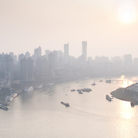 """Chongqing - January 7, 2011: embraced by the Yangtze and Jialing rivers that make his position so strategic, the city is also known as """"Fog City"""" with an average of 68 days of fog a year."""