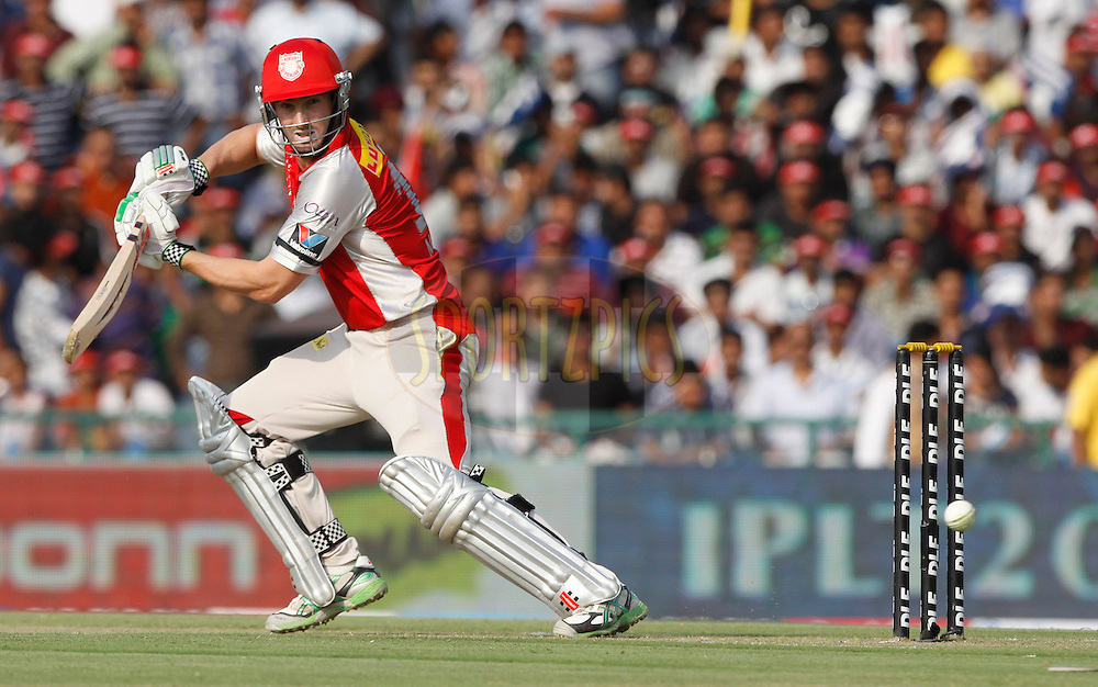 Kings XI Punjab player Shaun Marsh play a shot during match 33 of the the Indian Premier League ( IPL) 2012  between The Kings X1 Punjab and The Mumbai Indians held at the Punjab Cricket Association Stadium, Mohali on the 25th April 2012..Photo by Pankaj Nangia/IPL/SPORTZPICS