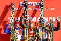 Kombinert<br /> FIS World Cup<br /> 18.01.2015<br /> Foto: Gepa/Digitalsport<br /> NORWAY ONLY<br /> <br /> SEEFELD - ØSTERRIKE<br /> <br /> FIS World Cup, Nordic Triple, Gundersen, men, award ceremony. Image shows the podium: Akito Watabe (JPN), Eric Frenzel (GER) and Håvard Klemetsen (NOR).