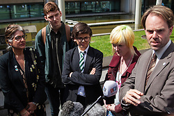 London, UK. 30th April 2019. Climate change activists from Extinction Rebellion (l-r) Farhana Yamin, Sam Knights, Felix Ottaway O'Mahony, Clare Farrell and Rupert Read are interviewed outside the Home Office after attending a meeting hosted by the Secretary of State for the Environment Michael Gove.