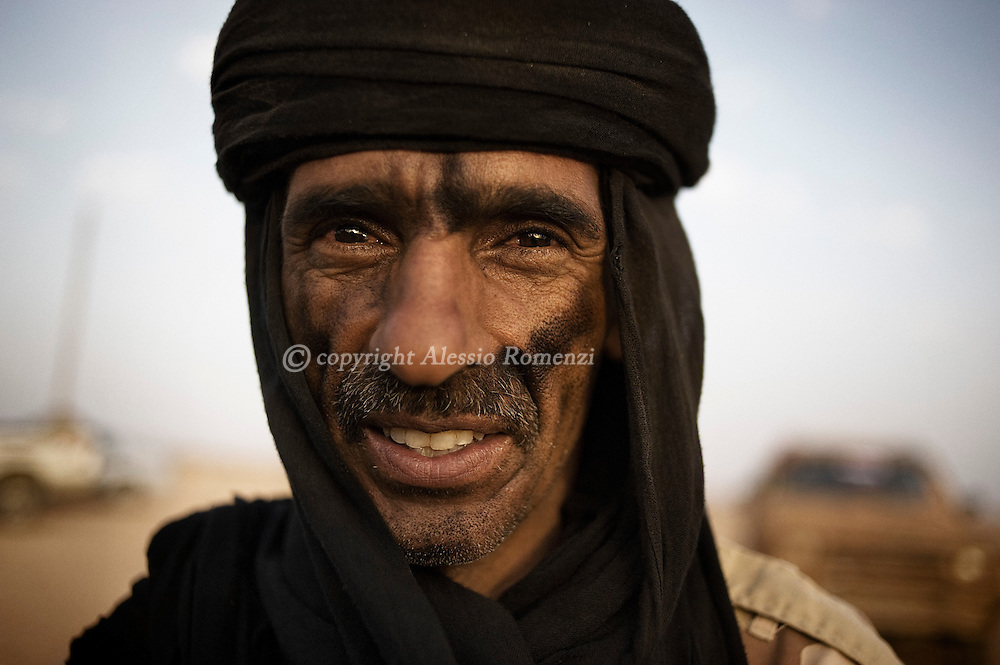 LIBYAN ARAB JAMAHIRIYA, Gualish : Portrait of the Libyan rebel's ground commander Mokhtar Alakhadar on the front line by near the southwest desert hamlet of Gualish as rebels repel an attack from forces loyal to Moamer Kadhafi aimed at capturing the city on July 24, 2011.ALESSIO ROMENZI