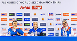 20.02.2019, Seefeld, AUT, FIS Weltmeisterschaften Ski Nordisch, Seefeld 2019, Pressekonferenz, im Bild v.l. Prof. Peter Schröcksnadel (ÖSV Präsident), Gian Franco Kasper (Präsident des Internationalen Skiverbandes FIS), Werner Frießer (Bürgermeister Seefeld) // f.l. Peter Schroecksnadel Austrian Ski Association President Gian Franco Kasper President of the International Ski Federation FIS and Werner Frießer Mayor of Seefeld during a press conference before the FIS Nordic Ski World Championships 2019. Seefeld, Austria on 2019/02/20. EXPA Pictures © 2019, PhotoCredit: EXPA/ Stefan Adelsberger