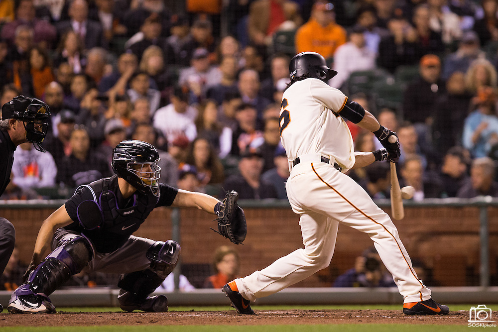 San Francisco Giants left fielder Angel Pagan (16) makes contact with a pitch against the Colorado Rockies at AT&T Park in San Francisco, Calif., on September 27, 2016. (Stan Olszewski/Special to S.F. Examiner)