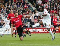 Photo: Kevin Poolman.<br />AFC Bournemouth v Brentford. Coca Cola League 1. 06/05/2006. Brentford's Sam Sodje scores their first goal.