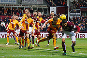 Hearts FC Defender Igor Rossi headers the goal during the Ladbrokes Scottish Premiership match between Heart of Midlothian and Motherwell at Tynecastle Stadium, Gorgie, Scotland on 16 January 2016. Photo by Craig McAllister.