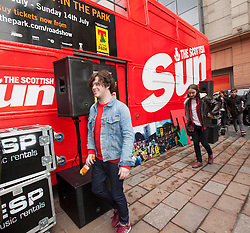 The View arriving. T in the Park Roadshow with The View at the first performance at the top of Buchanan Street..© Michael Schofield..