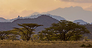 Remote parts of Samburu National Park in Kenya at dusk.
