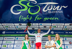 Aljaz Jarc (SLO) of Adria Mobil, celebrates in white jersey as best Young rider at trophy ceremony  during 1st Stage of 26th Tour of Slovenia 2019 cycling race between Ljubljana and Rogaska Slatina (171 km), on June 19, 2019 in  Slovenia. Photo by Vid Ponikvar / Sportida