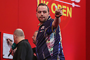 Jose Justicia wins leg and celebrates during the Ladrokes UK Open 2019 at Butlins Minehead, Minehead, United Kingdom on 1 March 2019.