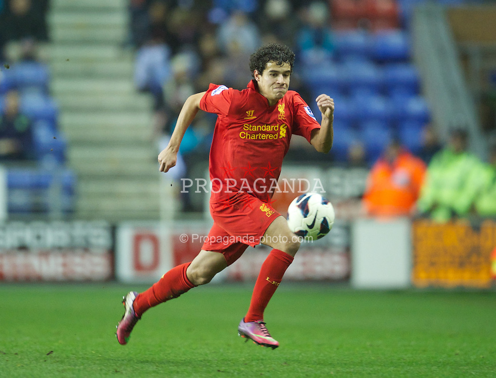 WIGAN, ENGLAND - Saturday, March 2, 2013: Liverpool's Philippe Coutinho Correia in action against Wigan Athletic during the Premiership match at the DW Stadium. (Pic by David Rawcliffe/Propaganda)