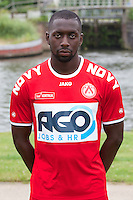 Kortrijk's Alassane Tambe poses for the photographer during the 2014-2015 season photo shoot of Belgian first league soccer team KV Kortrijk, Tuesday 08 July 2014 in Kortrijk.