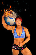 Female Atlas holds the burning earth on her shoulder
