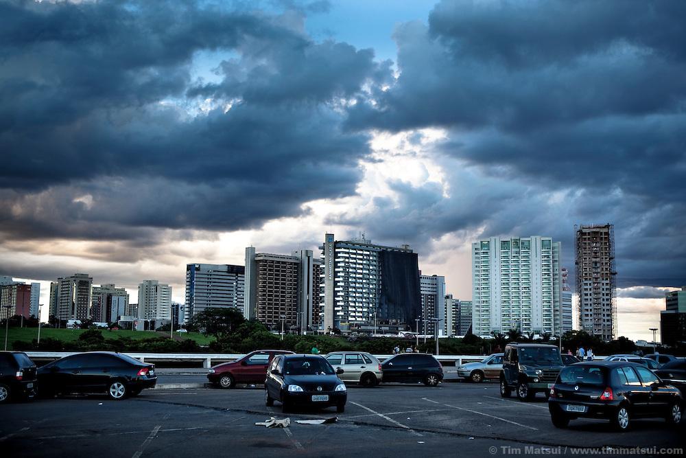 Cars parked downtown in Brasilia, Brazil.