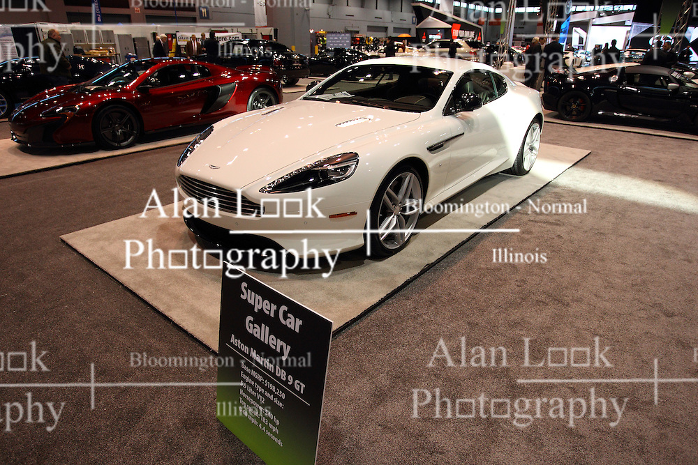 11 February 2016: Aston Martin DB 9  GT<br /> <br /> First staged in 1901, the Chicago Auto Show is the largest auto show in North America and has been held more times than any other auto exposition on the continent.  It has been  presented by the Chicago Automobile Trade Association (CATA) since 1935.  It is held at McCormick Place, Chicago Illinois<br /> #CAS16