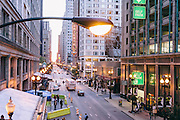 The view down West Randolph Street from the Randolph/Wabash Metro station in downtown Chicago, Illinois