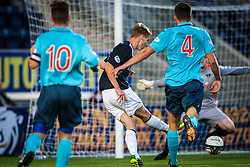 Falkirk's Jay Fulton scoring their second goal.<br /> Falkirk 2 v 1 Dunfermline, Scottish League Cup, 27/8/2013, at The Falkirk Stadium.<br /> &copy;Michael Schofield.