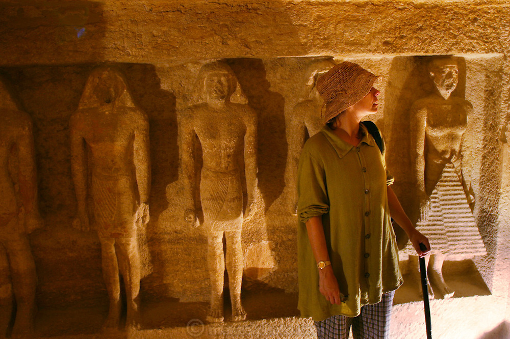 Inside a tomb in the great pyramids at Giza, outside Cairo, Egypt.  The lame tourist is none other than the famous writer Faith D'Aluisio.