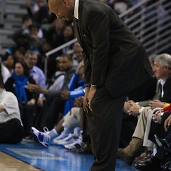 04 February 2009:  New Orleans Hornets coach Byron Scott hangs his head down after a Hornets turnover during a 93-107 loss by the New Orleans Hornets to the Chicago Bulls at the New Orleans Arena in New Orleans, LA.