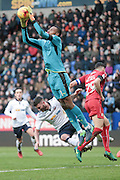 Lawrence Vigouroux (Swindon Town) makes a save during the EFL Sky Bet League 1 match between Bolton Wanderers and Swindon Town at the Macron Stadium, Bolton, England on 14 January 2017. Photo by Mark P Doherty.
